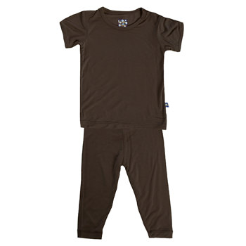 Basic Short Sleeve Pajama Set in Bark