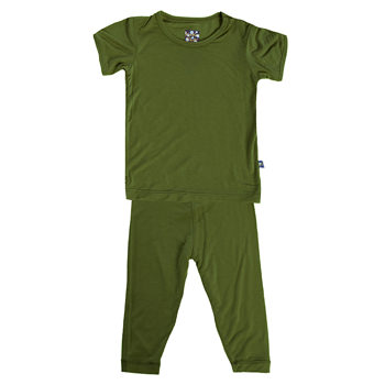 Basic Short Sleeve Pajama Set in Moss